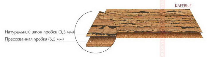 Структура клеевого пробкового пола Corkstyle NaturalCork