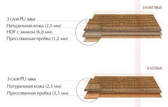 Структура кожаного пола Corkstyle