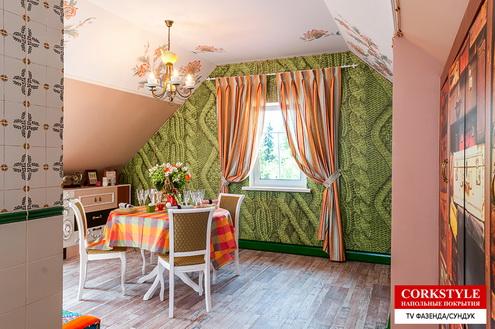 Замковый пробковый ламинатс фотопечатью Коркстайл Printcork Loft в интерьере