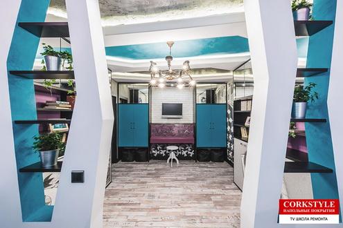 Замковый пробковый полс фотопечатью Corkstyle Printcork Loft в интерьере