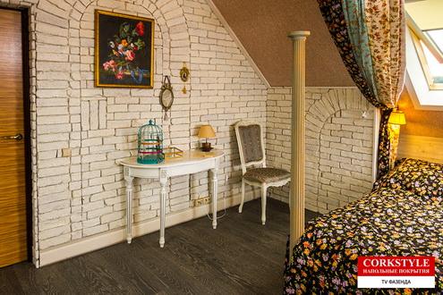 Замковый пробковый полс фотопечатью Коркстайл Printcork Wood в интерьере