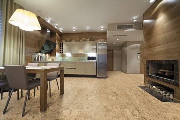 Пробка на пол на кухне интерьер