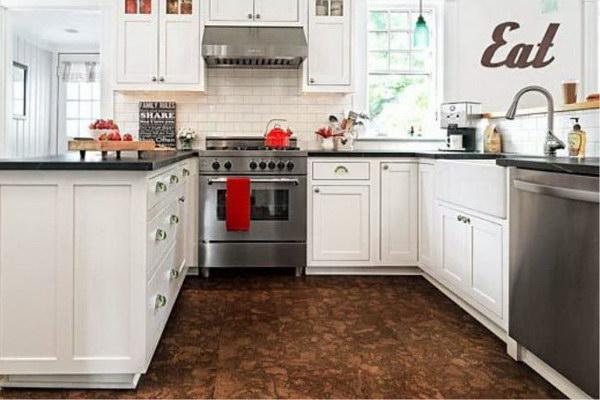 Пробковое покрытие для пола на кухне интерьер