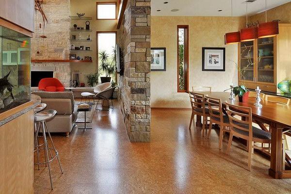 Пробковый пол в кухонном интерьере