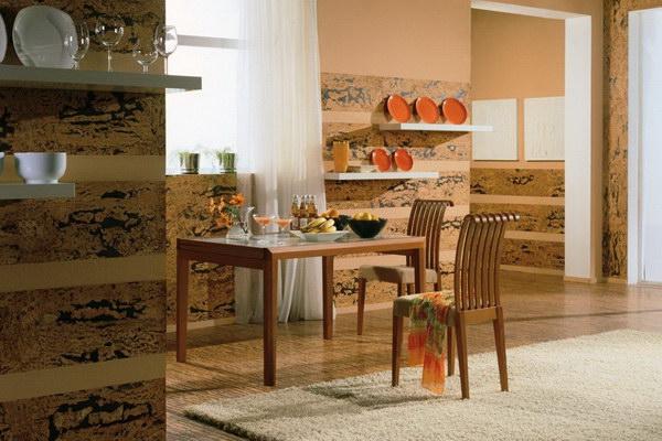 Пробковые стены на кухне в интерьере