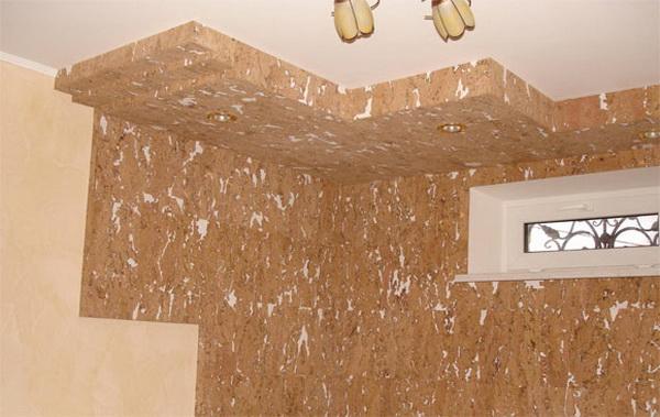 Пробковые панели для потолка в интерьере